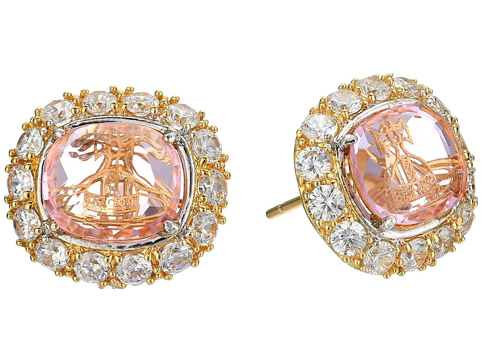Vivienne Westwood - Electra Stud Earrings (White Cubic Zirconia/Pink) Earring