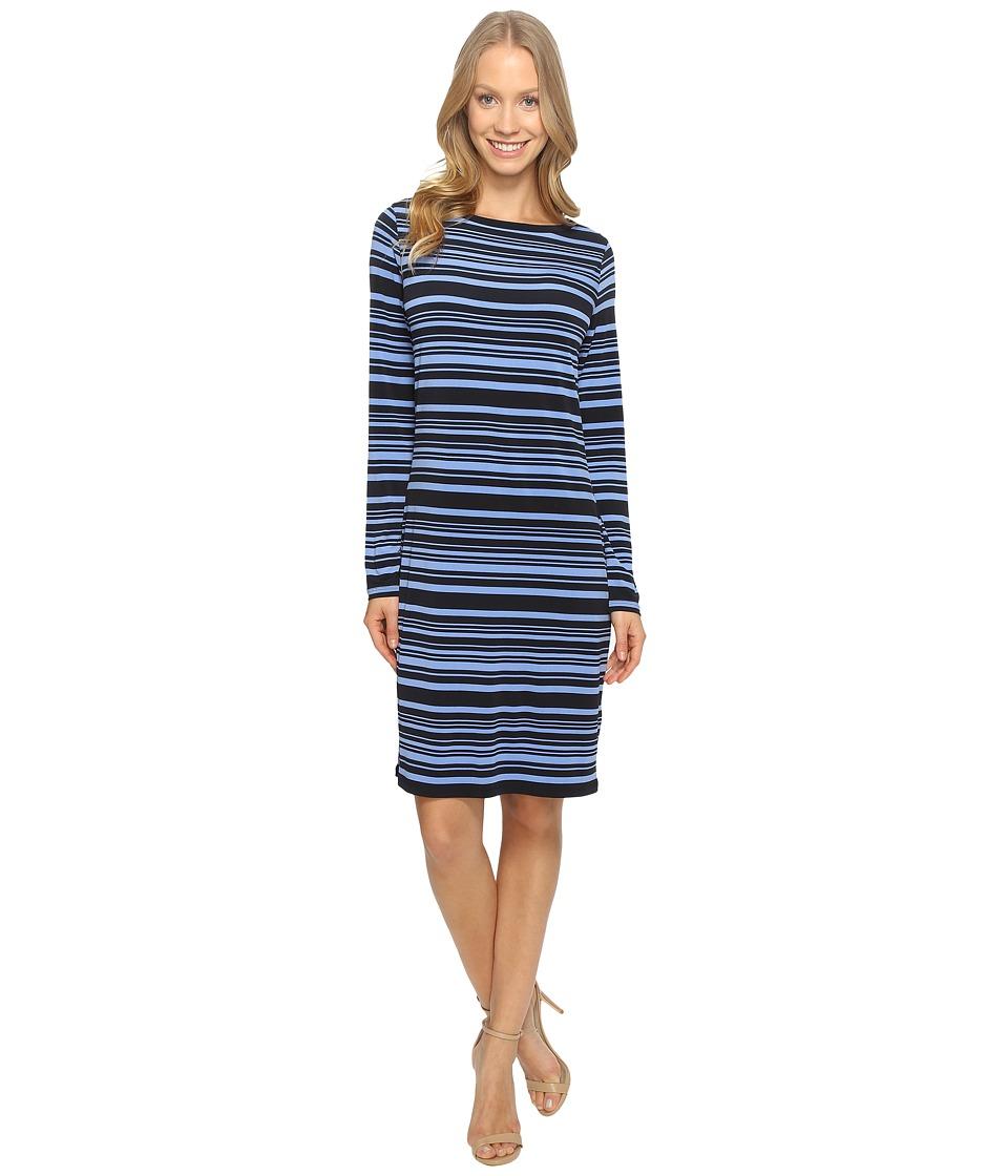 MICHAEL Michael Kors Ardennais Long Sleeve Boat Neck Dress (Oxford Blue) Women