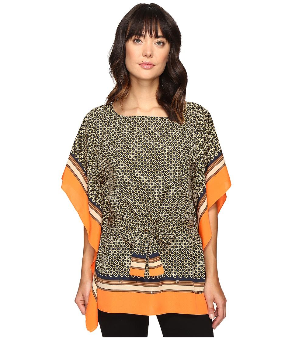 MICHAEL Michael Kors - Bridle Scarf Boat Neck Top (Poppy) Women's Clothing