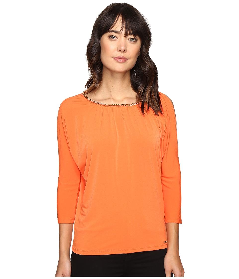 MICHAEL Michael Kors - Chain Neck Cold Shoulder Top (Poppy) Women's Clothing