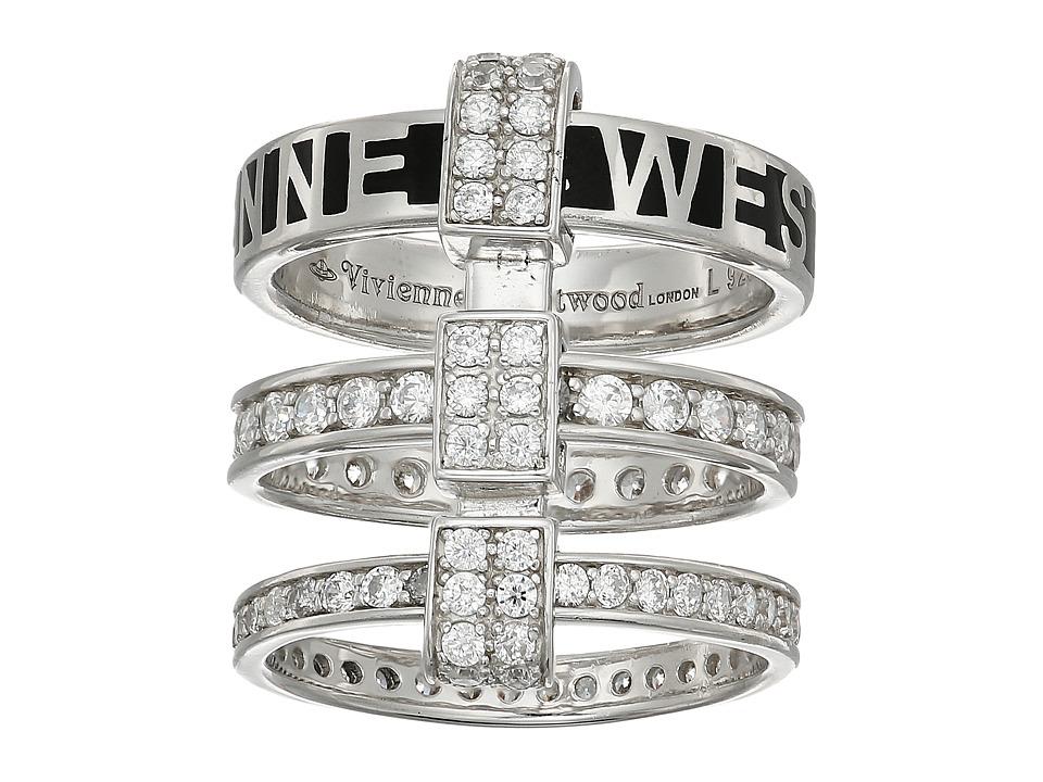 Vivienne Westwood - Jules Ring (Black Enamel/White Cubic Zirconia) Ring