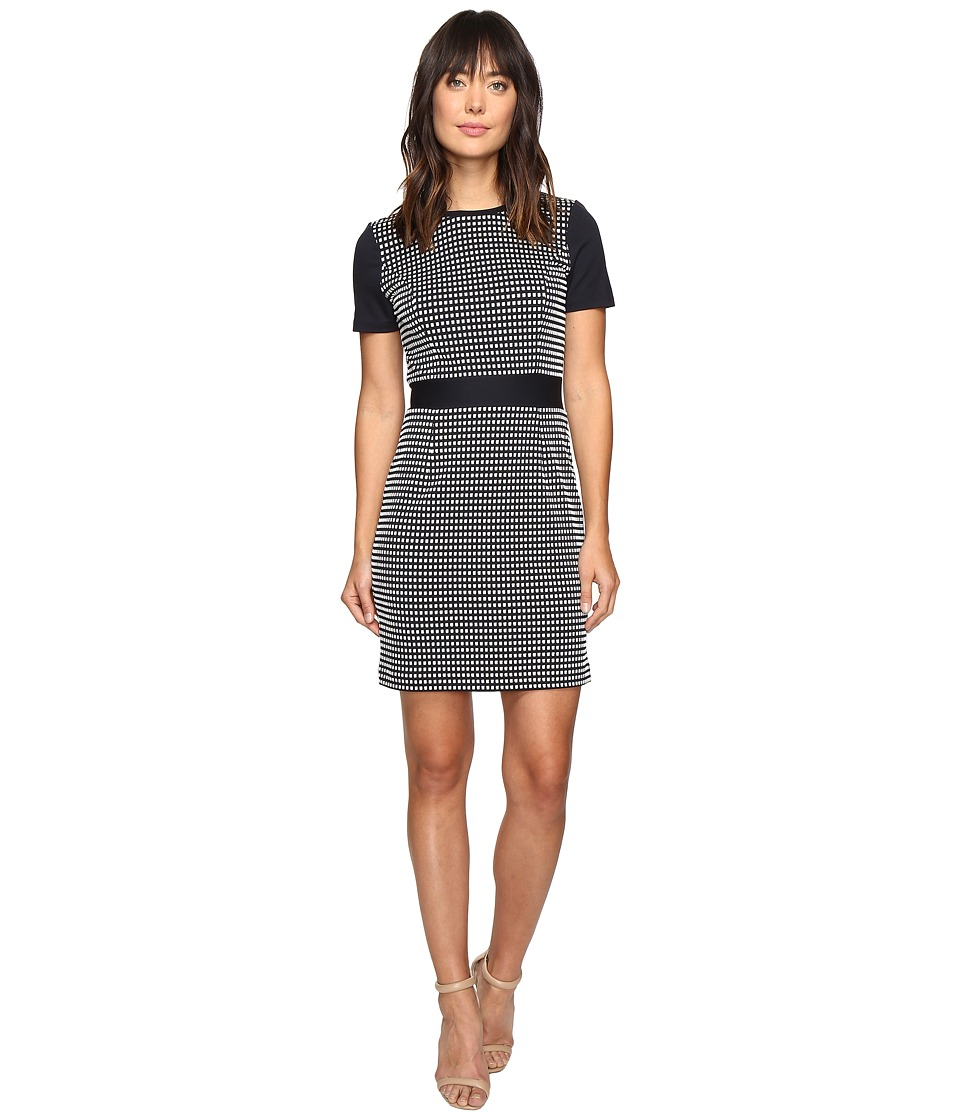 MICHAEL Michael Kors - Gingham Texture Dress (New Navy) Women's Dress