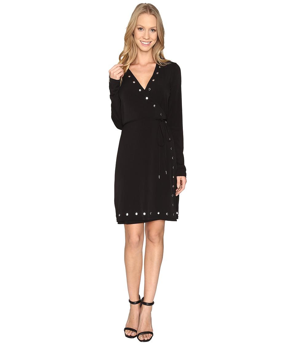 MICHAEL Michael Kors Dome Stud Wrap Dress (Black) Women