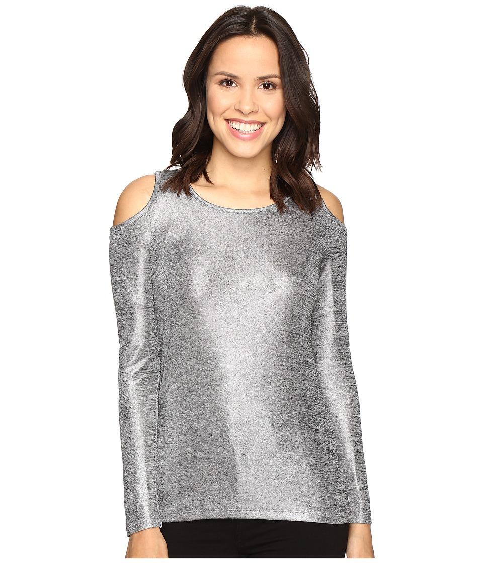 MICHAEL Michael Kors - Foil Long Sleeve Cold Shoulder (Silver) Women's Clothing