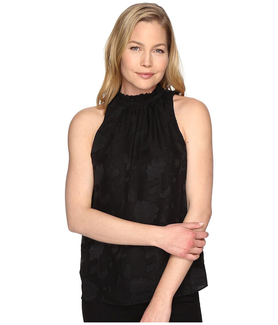 MICHAEL Michael Kors - Floral Jacquard Cord Neck Top (Black) Women's Clothing