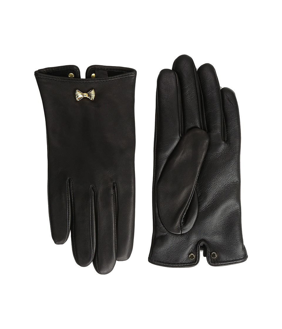 Ted Baker - Avia Bow Wrist Detail Leather Gloves (Black) Extreme Cold Weather Gloves