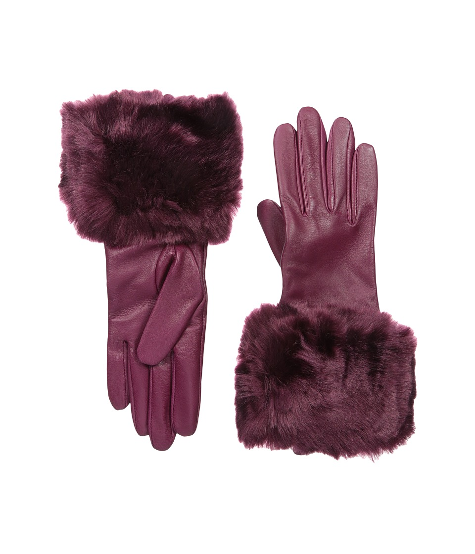 Ted Baker - Emree Faux Fur Cuff Gloves (Grape) Extreme Cold Weather Gloves