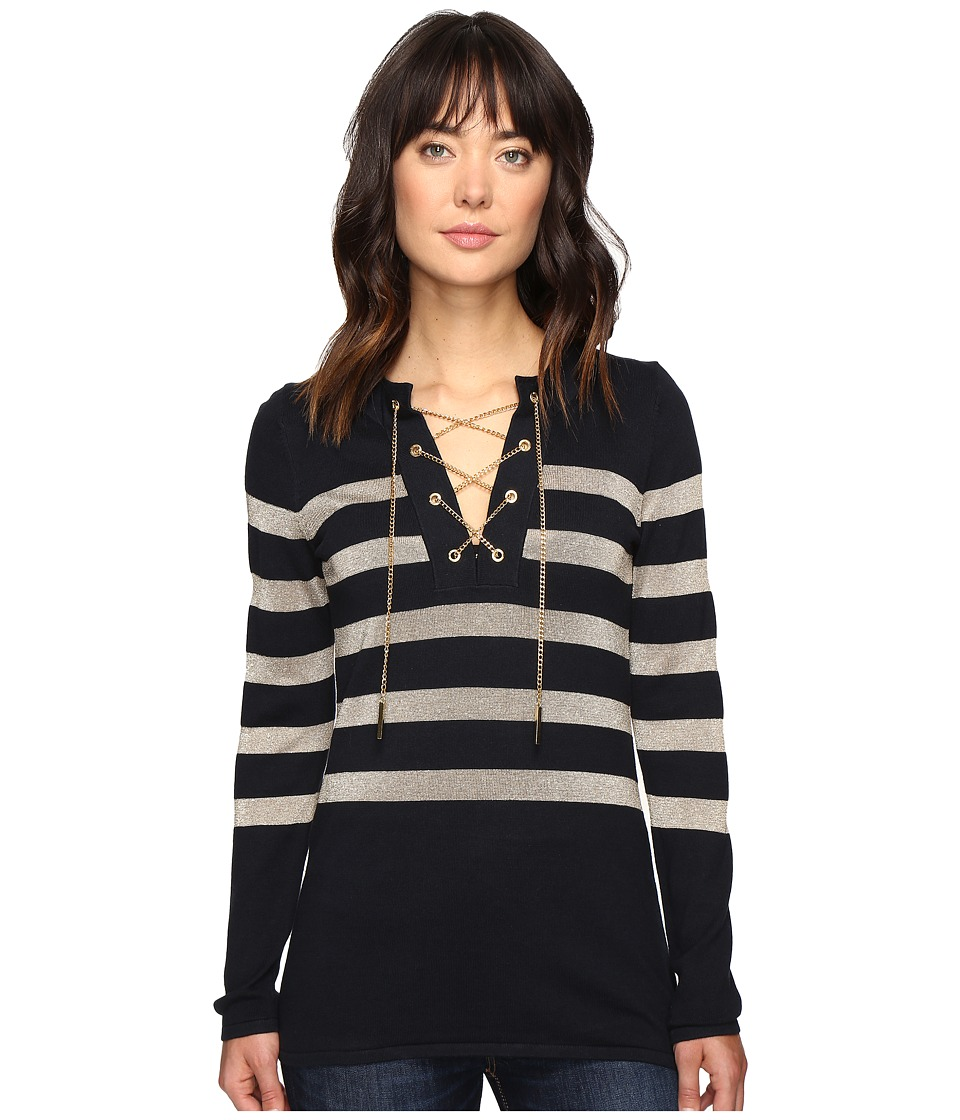 MICHAEL Michael Kors - Laced Chain Tunic (New Navy) Women's Blouse