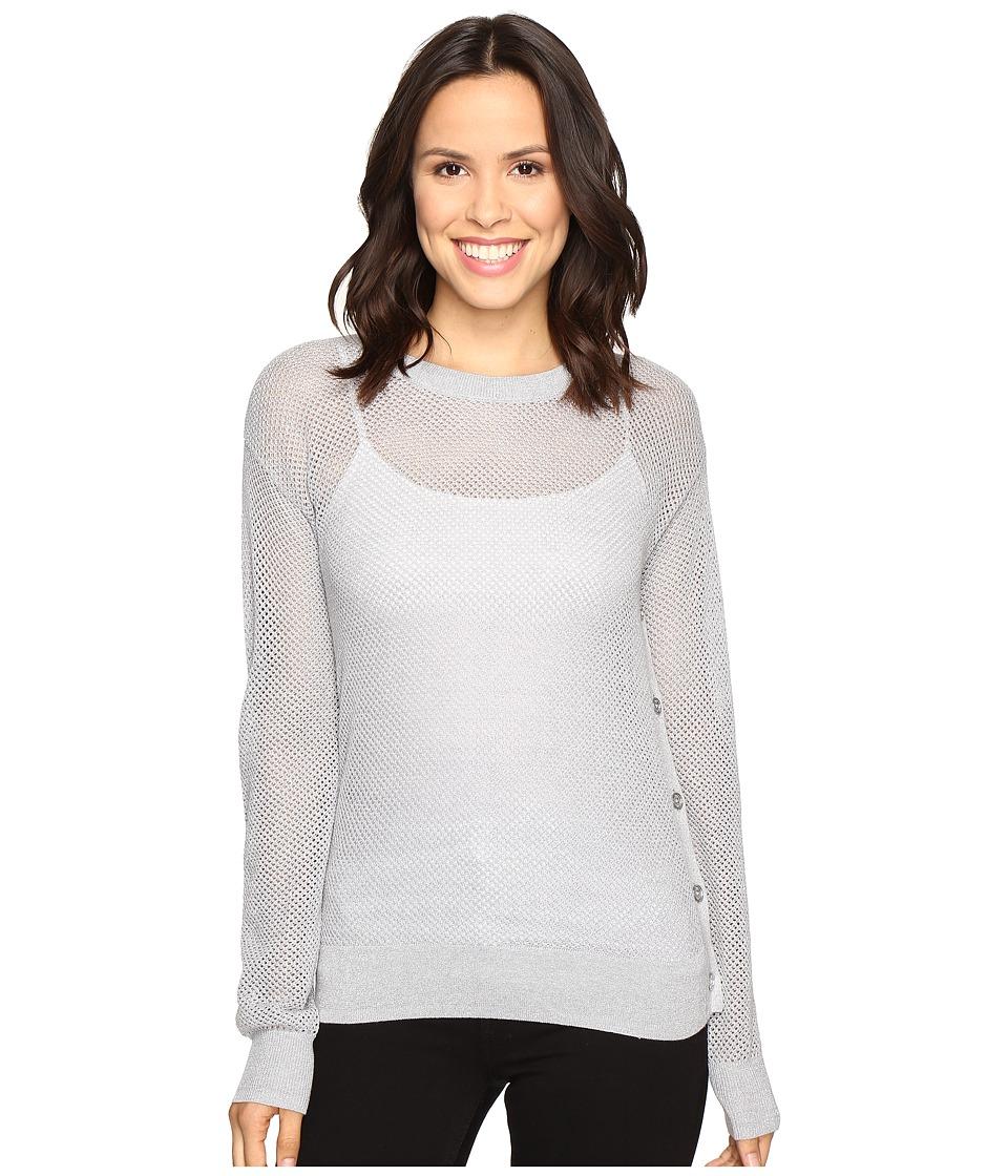 MICHAEL Michael Kors - Metallic Mesh Sweater (Pearl Heather) Women's Sweater