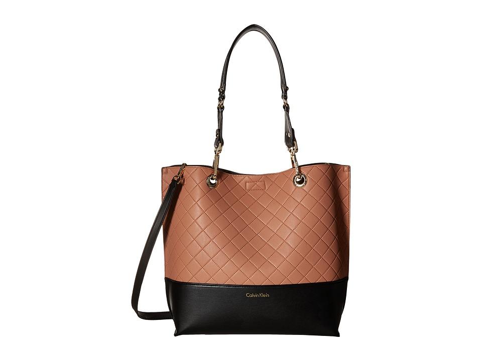 Calvin Klein - Sonoma Quilted Farra Tote (Deep Blush/Black) Tote Handbags