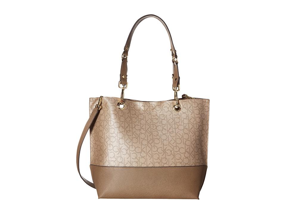 Calvin Klein - Logo Tote (Champagne/Metallic Taupe/Dark Taupe Saffiano) Tote Handbags