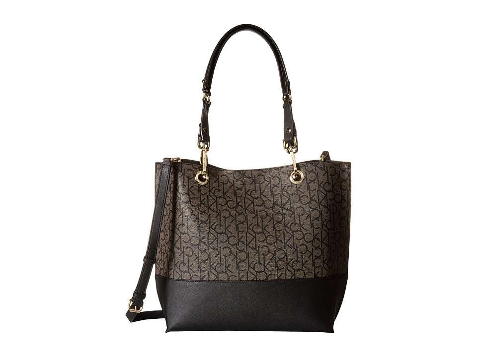 Calvin Klein - Logo Tote (Textured Khaki/Black/Black Saffiano) Tote Handbags
