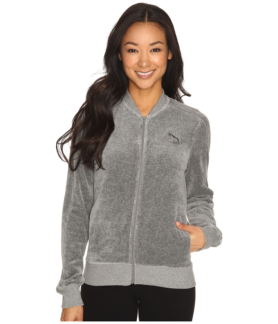 PUMA - Velour T7 Jacket (Medium Gray Heather) Women's Coat