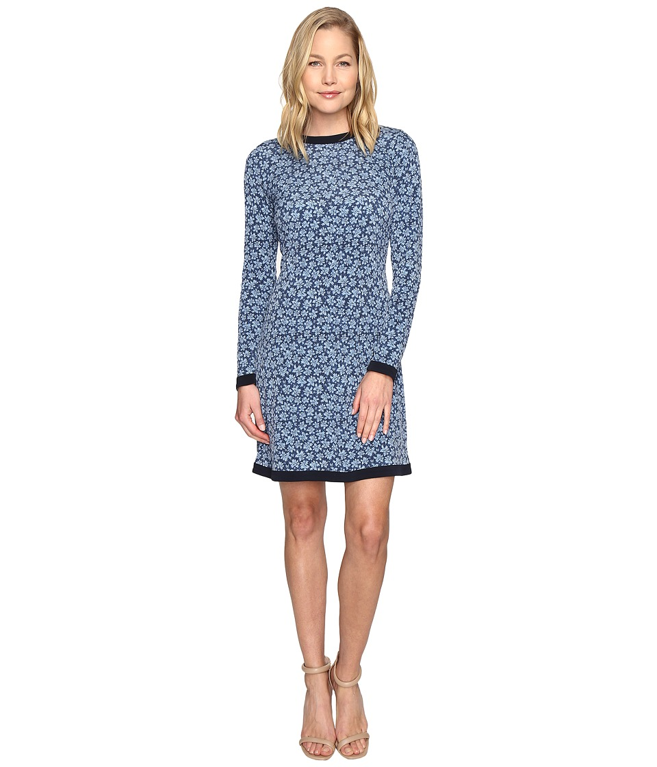 MICHAEL Michael Kors - Textured Bayeux Long Sleeve Dress (Blue Indigo) Women's Dress