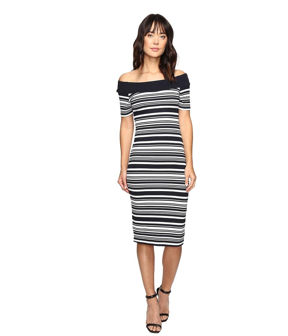 MICHAEL Michael Kors Texture Pique Off Shoulder Dress (New Navy) Women