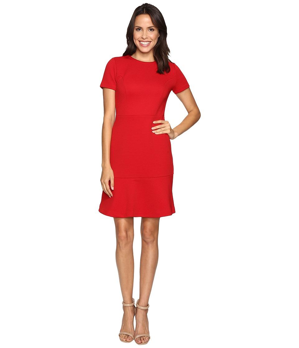 MICHAEL Michael Kors - Short Sleeve Crew Neck Flounce Dress (Red Blaze) Women's Dress