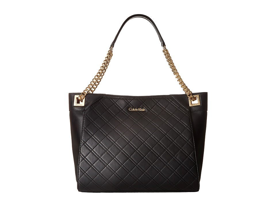 Calvin Klein - Quilted Lamb Tote (Black/Gold) Tote Handbags