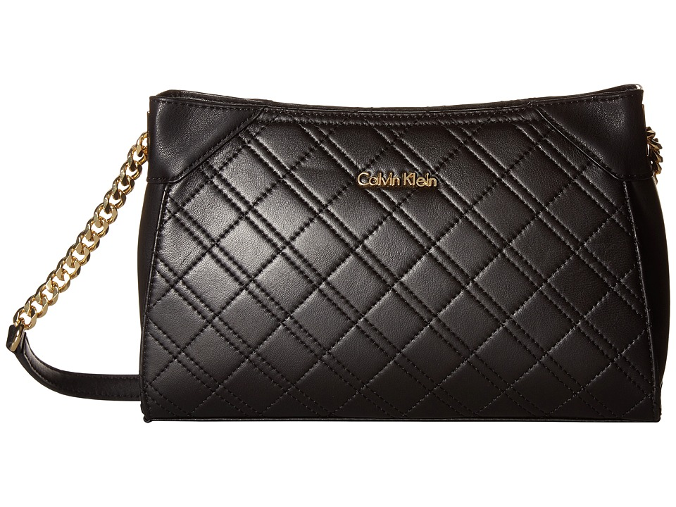 Calvin Klein - Quilted Lamb Crossbody (Black/Gold) Cross Body Handbags