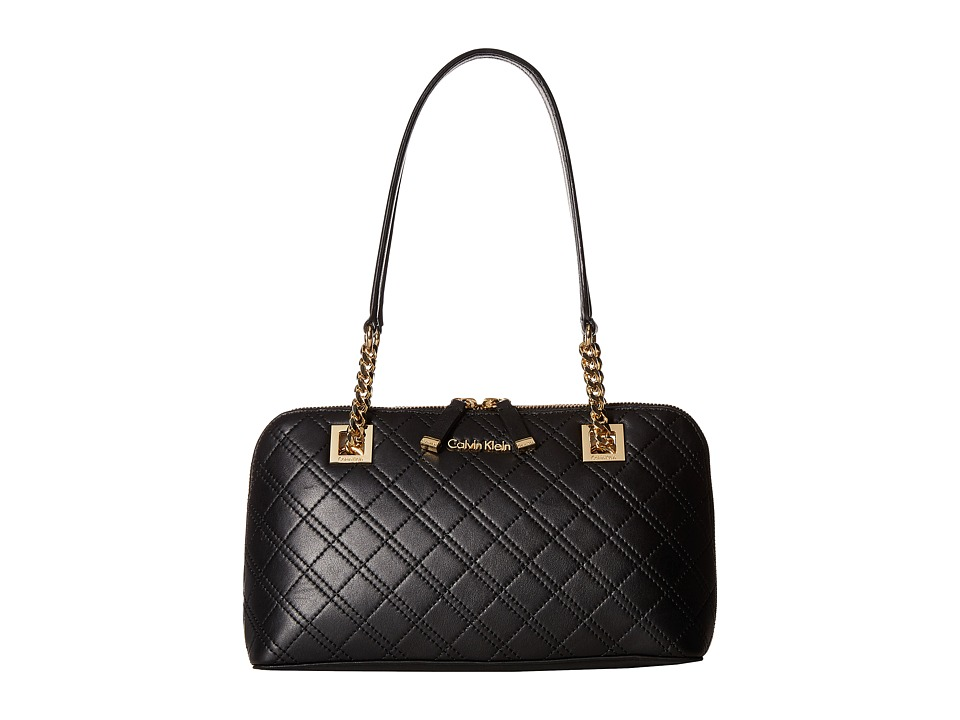 Calvin Klein - Quilted Lamb Satchel (Black/Gold) Tote Handbags