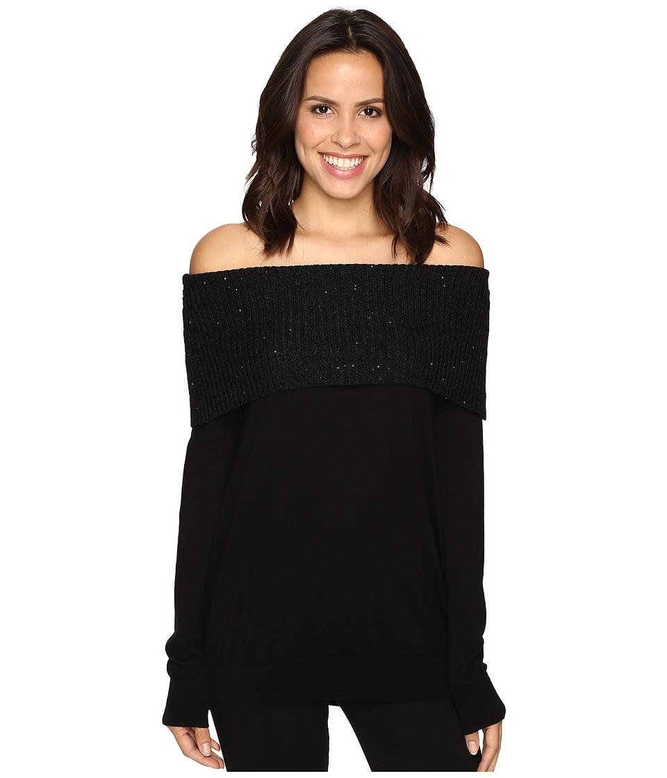 MICHAEL Michael Kors - Off Shoulder Sequin Cowl (Black) Women's Clothing