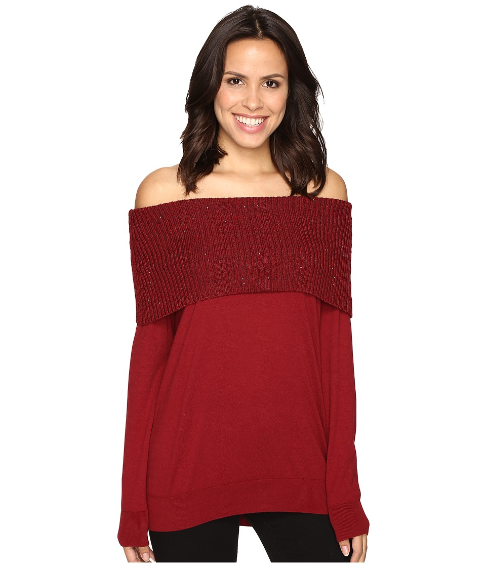 MICHAEL Michael Kors - Off Shoulder Sequin Cowl (Cinnabar) Women's Clothing