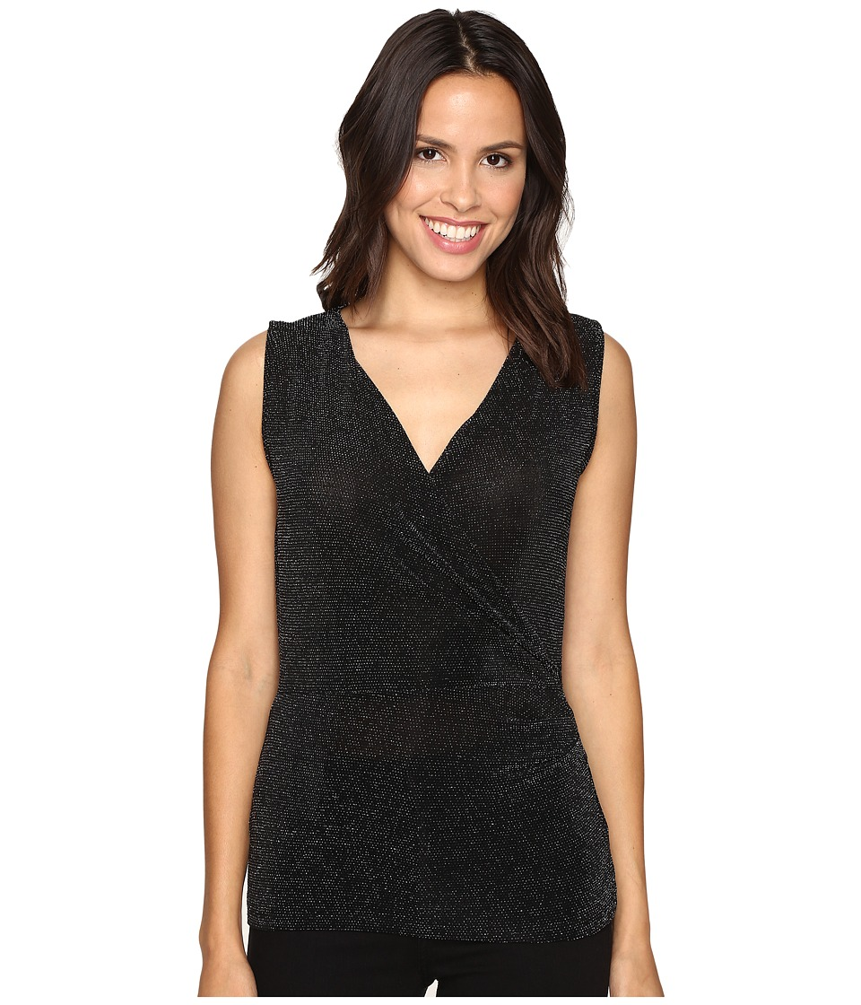 MICHAEL Michael Kors - Sleeveless Side Drape Top (Black) Women's Sleeveless
