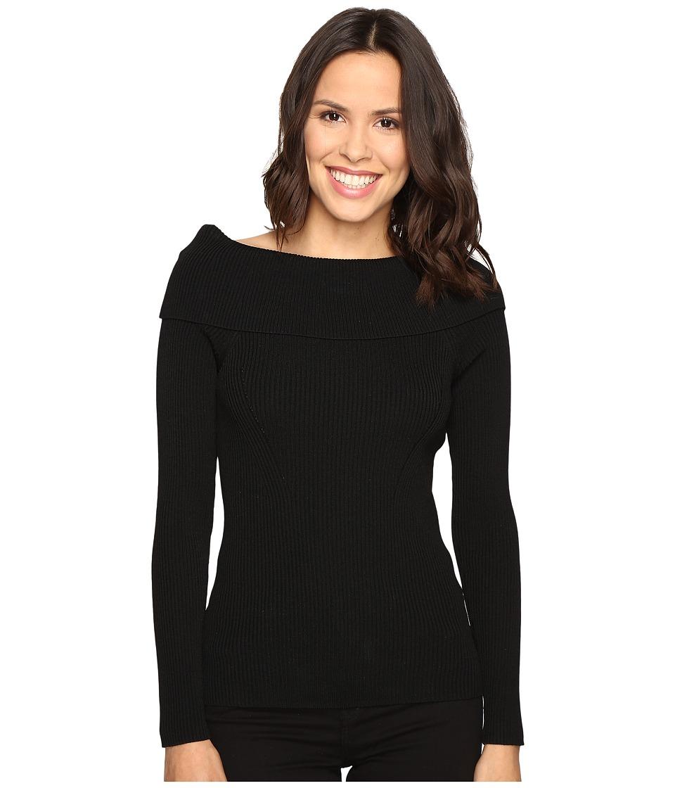 MICHAEL Michael Kors - Open Cowl Rib Sweater (Black) Women's Sweater