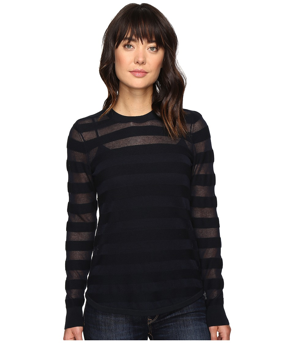 MICHAEL Michael Kors - Sheer Stripe Long Sleeve Crew (New Navy) Women's Clothing