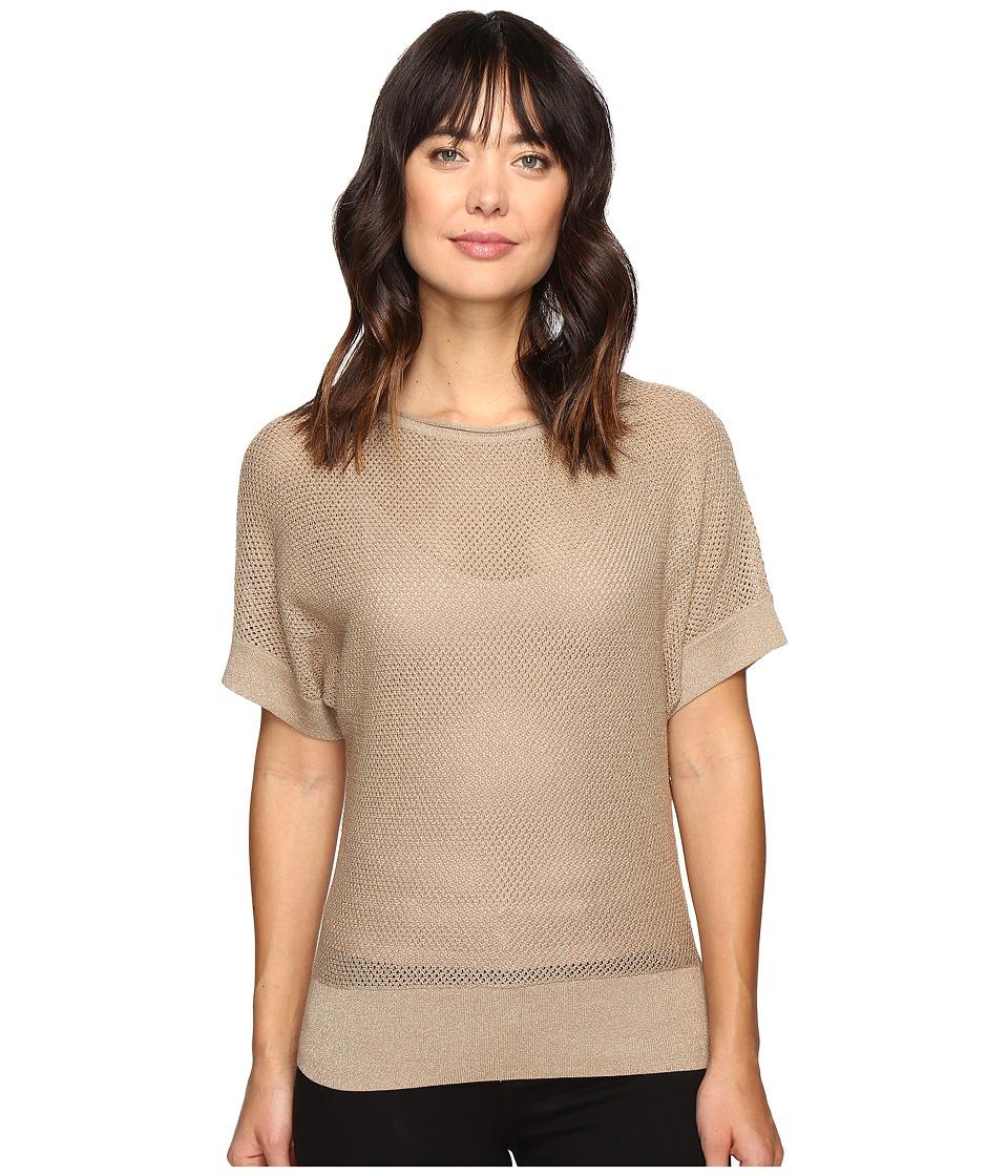 MICHAEL Michael Kors - Short Sleeve Dolman Metallic Sweater (Dark Camel) Women's Sweater