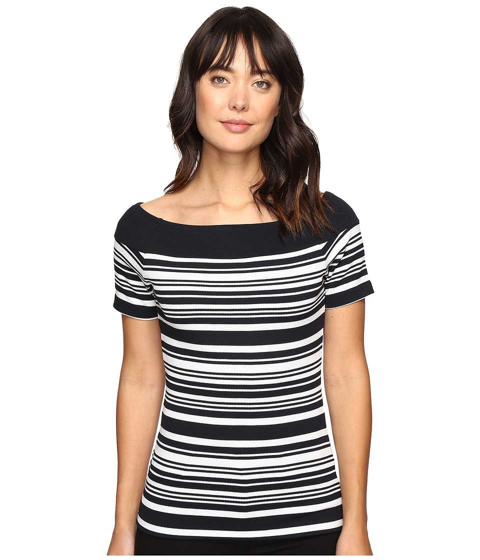 MICHAEL Michael Kors - Textured Pique Off Shoulder Top (New Navy) Women's Clothing
