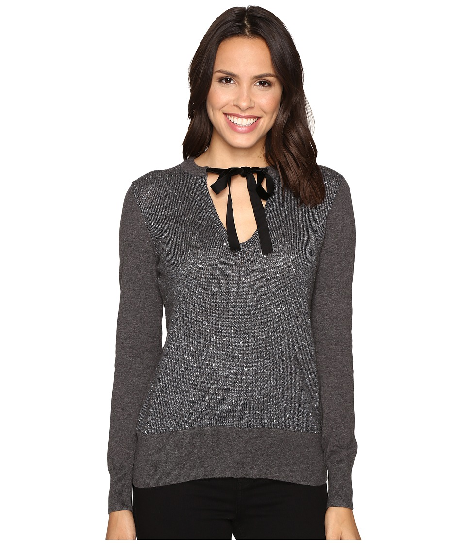 MICHAEL Michael Kors - Velvet Tie Sequin Sweater (Gunmetal) Women's Sweater