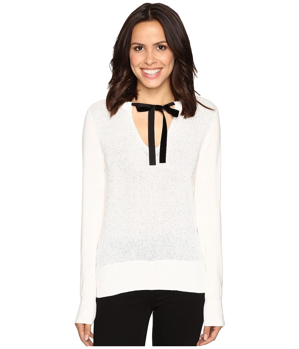 MICHAEL Michael Kors - Velvet Tie Sequin Sweater (Ecru) Women's Sweater