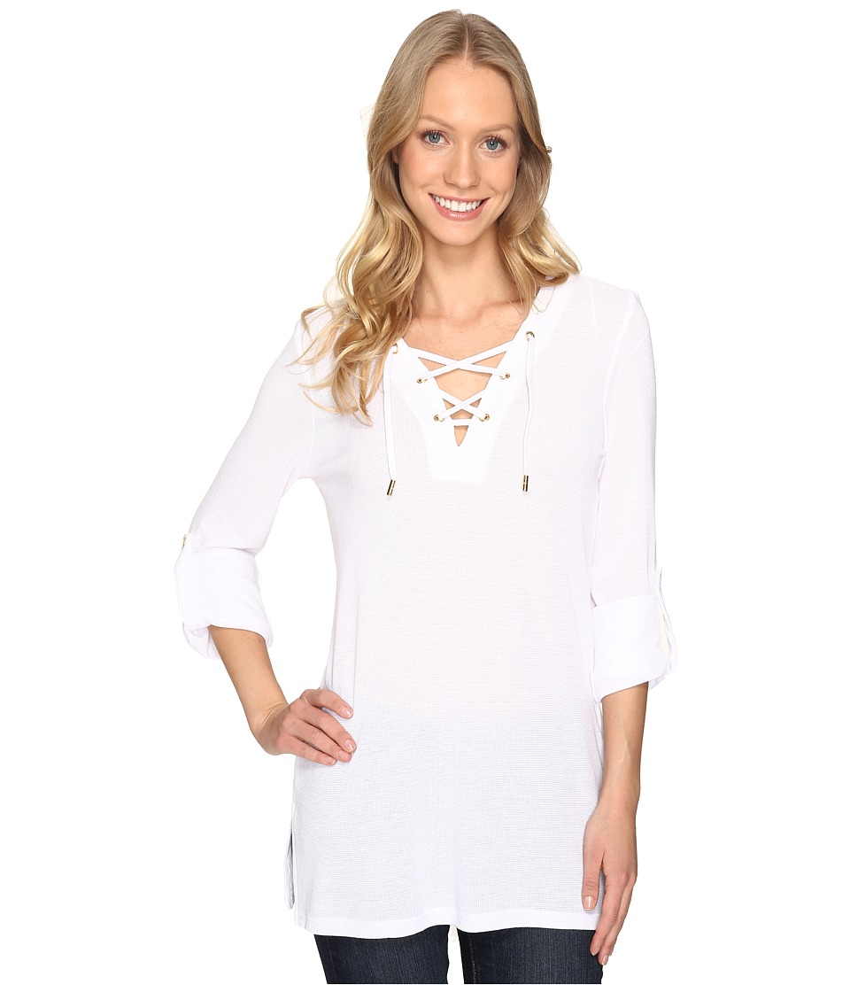 MICHAEL Michael Kors - Waffle Lace-Up Tunic (White) Women's Blouse