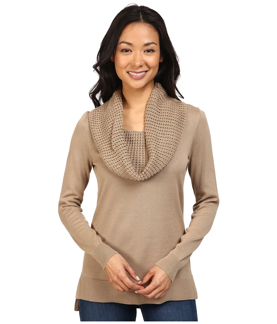 MICHAEL Michael Kors - Waffle Cowl Neck Sweater (Dark Camel) Women's Sweater