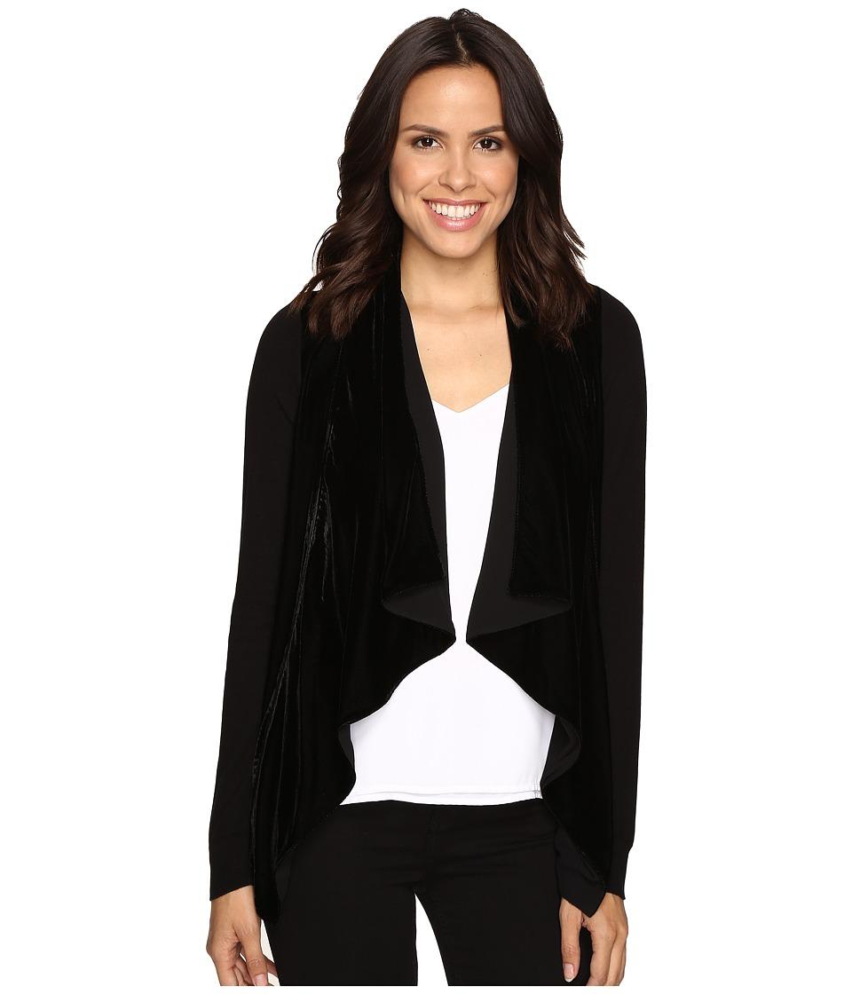 MICHAEL Michael Kors - Velvet Drape Front Sweater (Black) Women's Sweater
