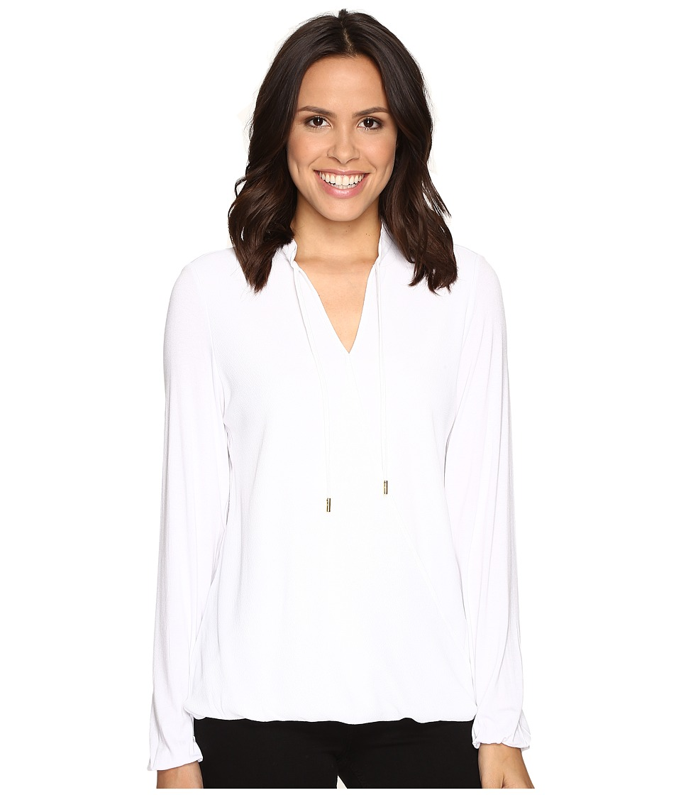MICHAEL Michael Kors - Crossover Woven Front Top (White) Women's Clothing