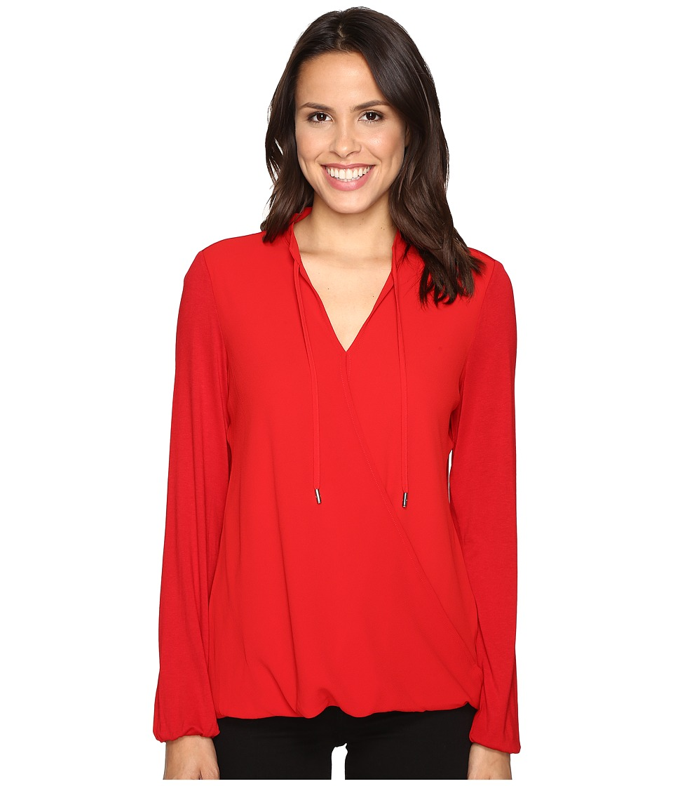 MICHAEL Michael Kors - Crossover Woven Front Top (Red Blaze) Women's Clothing