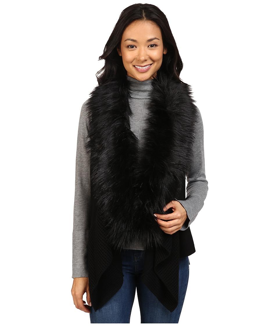 MICHAEL Michael Kors - Vest w/ Faux Fur Front Insert (Black) Women's Vest