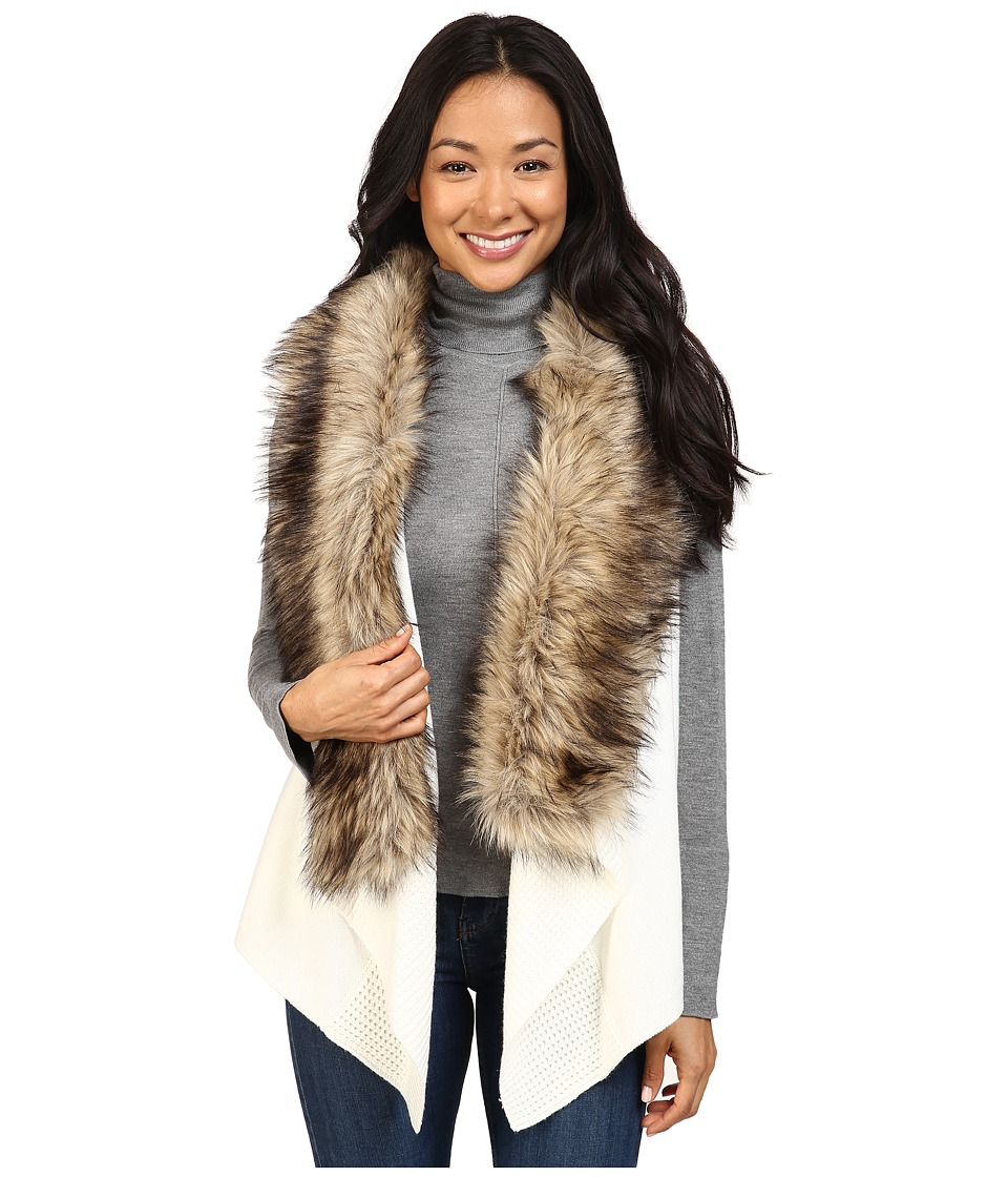 MICHAEL Michael Kors Vest w/ Faux Fur Front Insert (Ecru) Women