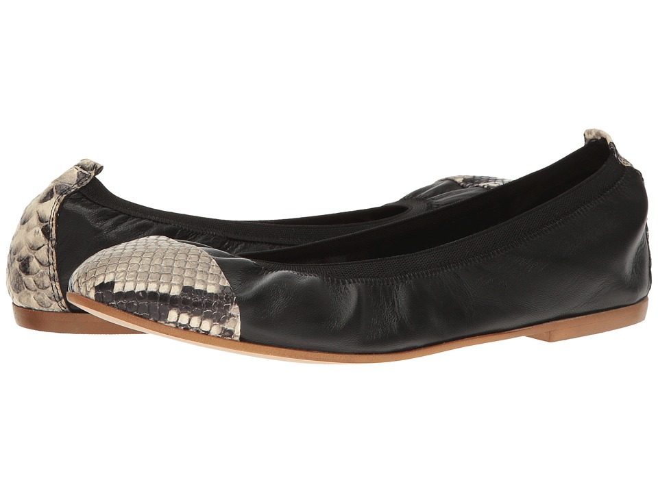 Massimo Matteo - Ballerina with Gore (Black/Snake) Women's Flat Shoes