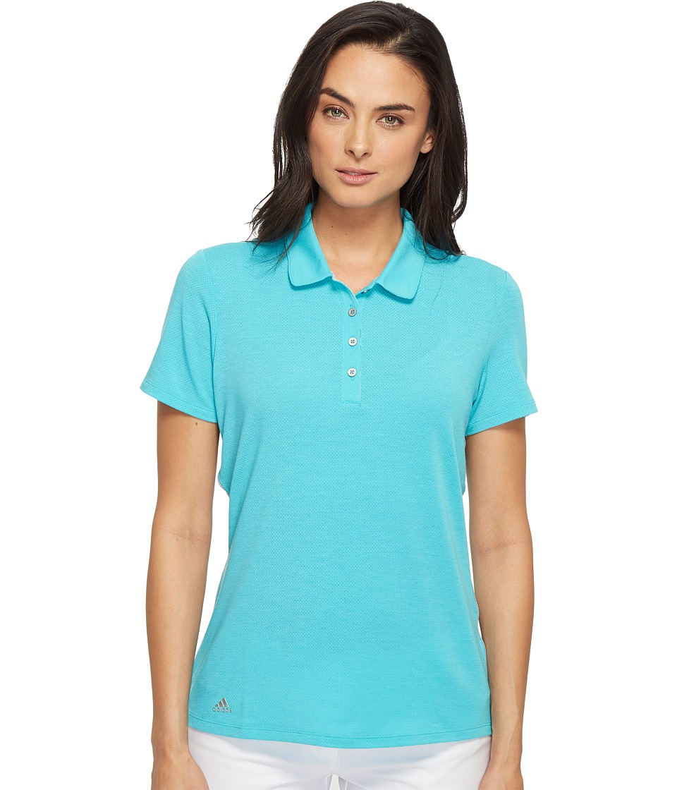 adidas Golf - Rangewear Short Sleeve Polo (Energy Blue/Light Heather Grey) Women's Short Sleeve Pullover