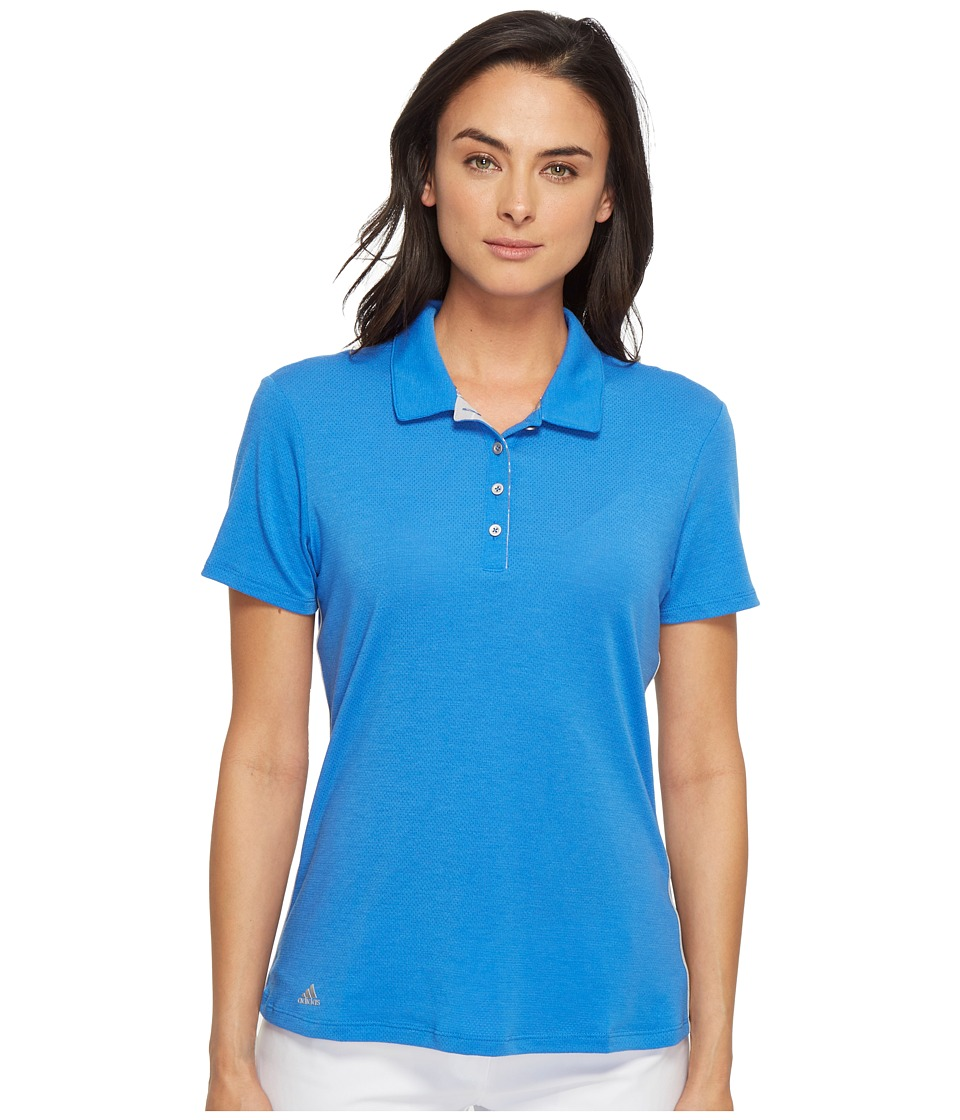 adidas Golf - Rangewear Short Sleeve Polo (Blue/Light Grey Heather) Women's Short Sleeve Pullover
