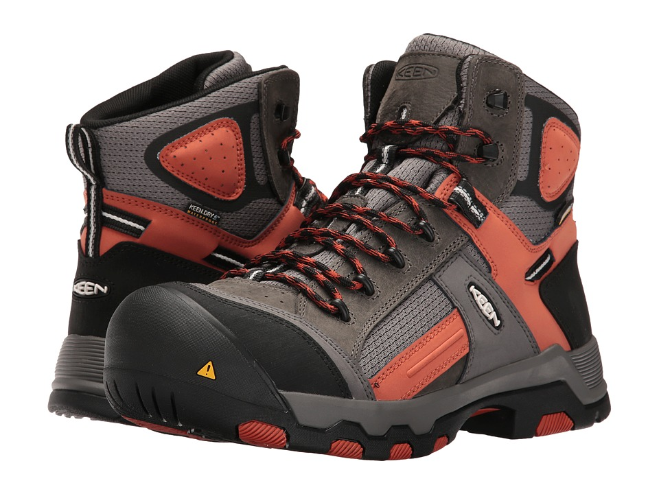 Keen Utility - Davenport Mid Waterproof (Gargoyle/Burnt Ochre) Men's Waterproof Boots