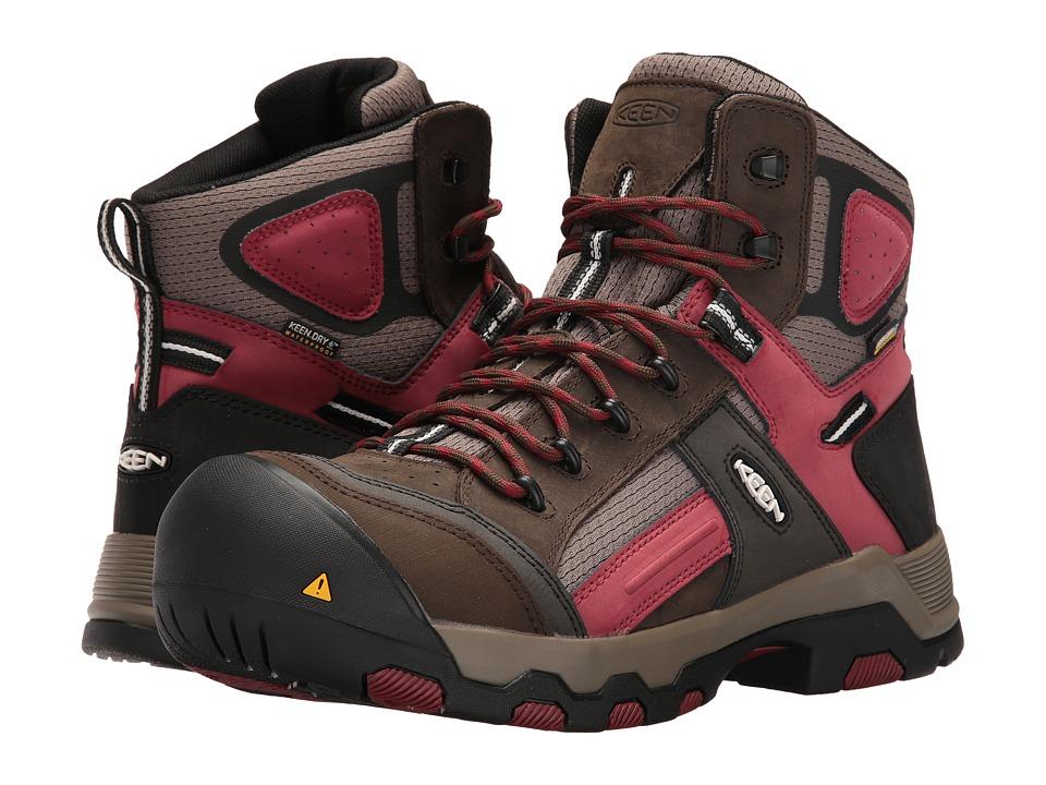 Keen Utility - Davenport Mid Waterproof (Cascade Brown/Red Dahlia) Men's Waterproof Boots