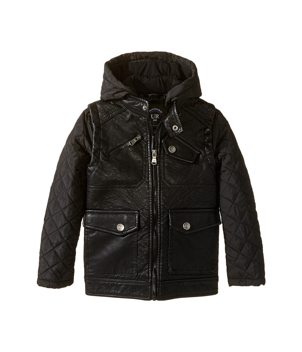 Urban Republic Kids - Buffalo Faux Leather Biker Jacket (Little Kids) (Black) Boy's Coat