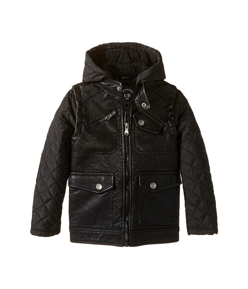 Urban Republic Kids - Buffalo Faux Leather Biker Jacket (Little Kids) (Black) Boy's Coat