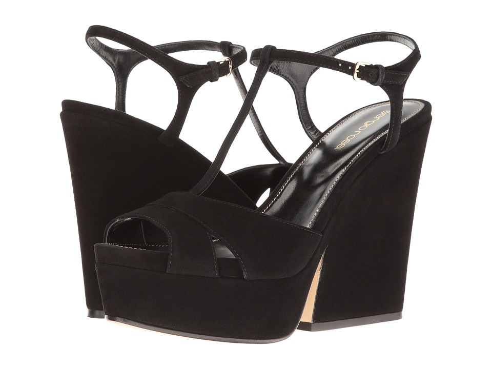 Sergio Rossi - Edwige (Black Suede) Women's Wedge Shoes