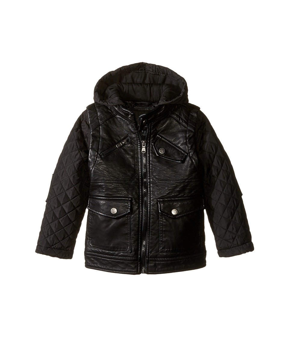 Urban Republic Kids - Buffalo Faux Leather Biker Jacket (Toddler) (Black) Boy's Coat