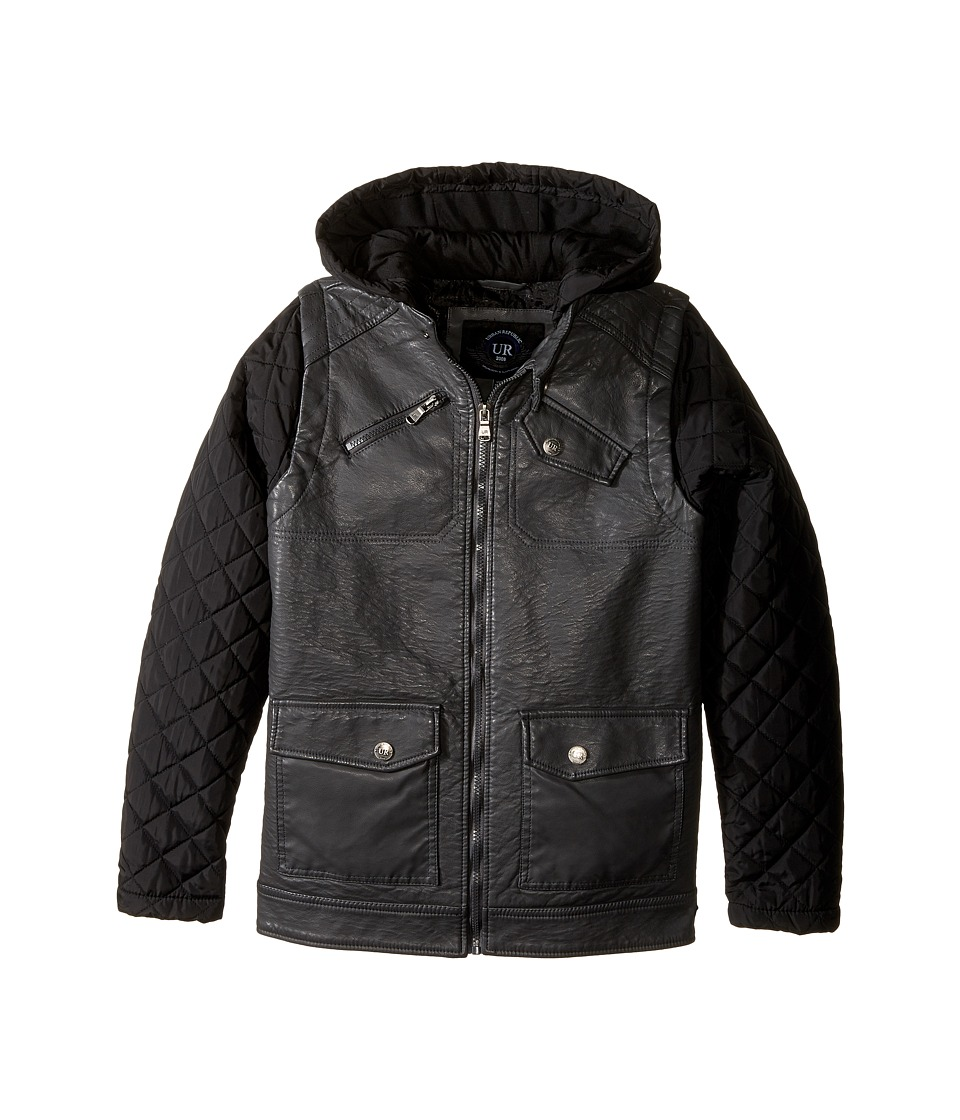 Urban Republic Kids - Buffalo Faux Leather Biker Jacket (Big Kids) (Charcoal) Boy's Coat