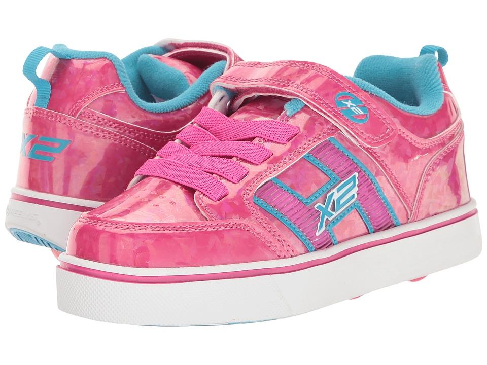 Heelys - Bolt Plus X2 (Little Kid/Big Kid) (Hot Pink Hologram/Neon Blue) Girls Shoes
